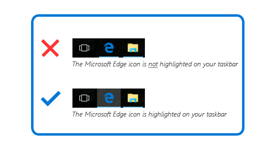 Top: Microsoft Edge icon not highlighted; Bottom: Microsoft Edge icon highlighted